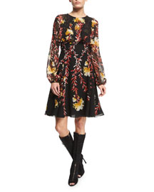 Bishop-Sleeve Floral Capelet Dress, Black/Hydrangea