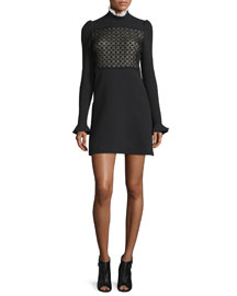 Long-Sleeve Macrame Ruffle-Neck Dress, Black