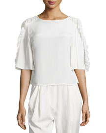 Ruffled Half-Sleeve Boxy Top, Antique