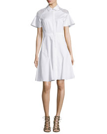 Short-Sleeve Lace-Shoulder Poplin Shirtdress, White