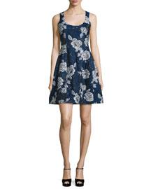 Sleeveless Floral Jacquard Dress, Blue