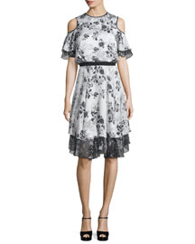 Floral-Print Silk Cold-Shoulder Dress, White