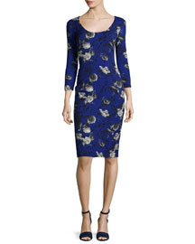 Floral-Print 3/4-Sleeve Sheath Dress, Blue