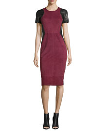 Whipstitched Suede Short-Sleeve Sheath Dress, Burgundy