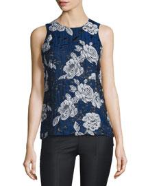 Sleeveless Floral Jacquard Top, Blue