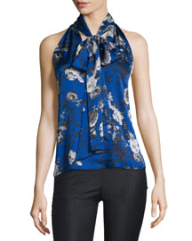 Sleeveless Floral Silk Tie-Neck Top, Blue
