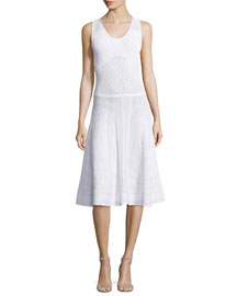 Sleeveless Flared Knit Dress, White