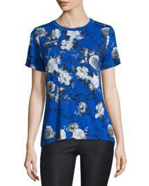 Short-Sleeve Floral-Print Top, Blue