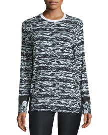 Long-Sleeve Graphic-Print Top, Black/White