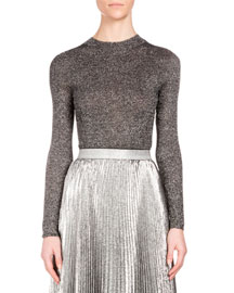 Long-Sleeve Metallic Knit Top, Silver
