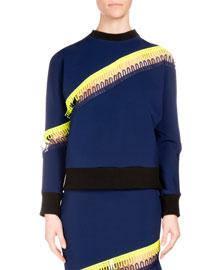 Crewneck Sweater w/Neon Stripe Detail, Navy