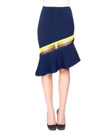 Flounced Midi Skirt w/Neon Trim, Navy