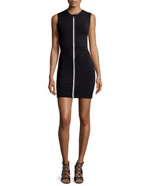 Half-Sleeve Bodycon Zip-Front Dress, Black