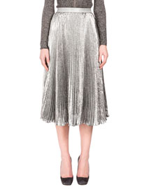 Metallic Accordion-Pleated Midi Skirt, Silver