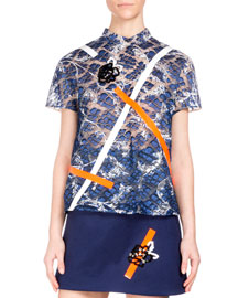 Short-Sleeve Embroidered-Lace Top, Navy