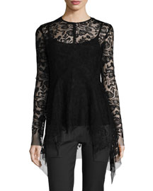 Long-Sleeve Embroidered Tulle Top, Black