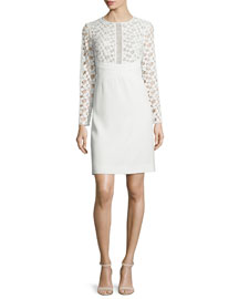 Long-Sleeve Lace-Inset Tunic Dress, White