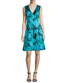 Sleeveless V-Neck Ikat Dress, Green/Multi