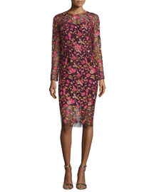 Long-Sleeve Embroidered Sheath Dress, Pink/Multi