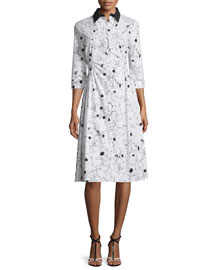 Floral-Print Ruched Cotton Shirtdress, Black/White
