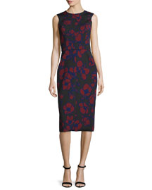 Sleeveless Poppy-Print Sheath Dress, Bordeaux/Black