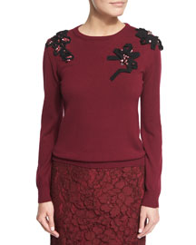 Long-Sleeve Embellished Knit Sweater, Bordeaux