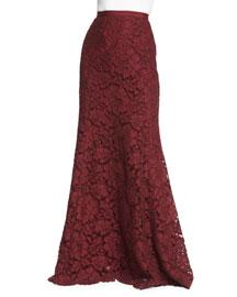 Long Lace Fishtail Skirt, Bordeaux