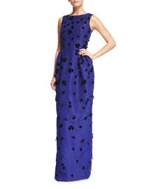 Velvet-Appliqu� Column Gown, Ultra Marine/Black