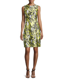 Sleeveless Pressed Floral-Print Dress, Citron
