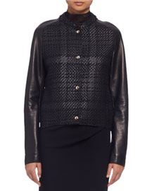 Woven Leather Baseball Jacket, Black (Noir)