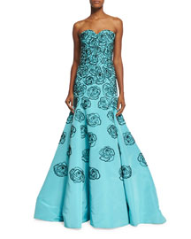 Strapless Sequin-Embroidered Faille Gown, Bright Blue