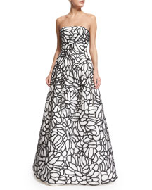 Strapless Sequined-Embroidered Organza Gown, White/Black