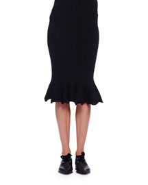 Flounced Wool Pencil Skirt, Black