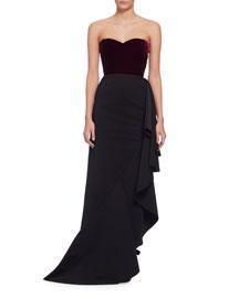 Strapless Sweetheart Velvet Combo Gown, Aubergine