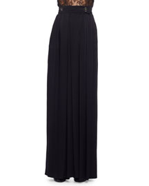 High-Waist Satin Palazzo Pants, Black (Noir)