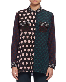 Long-Sleeve Multi-Print Patchwork Blouse