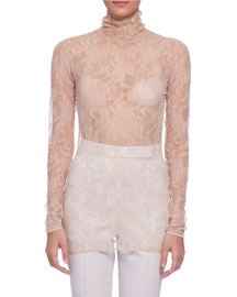 Long-Sleeve Sheer Lace Turtleneck Top, Nude