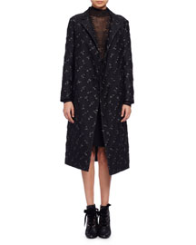 Floral Brocade Top Coat, Black (Noir)