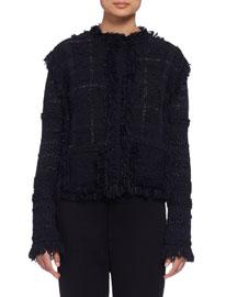 Fringed Plaid Tweed Jacket, Black