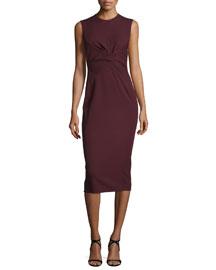 Sleeveless Twist-Front Sheath Dress, Bordeaux