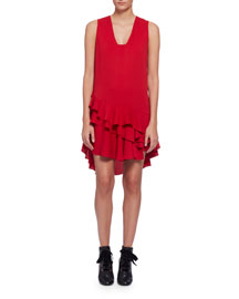 Sleeveless V-Neck Ruffle-Hem Dress, Red
