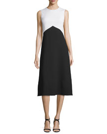 Sleeveless Bicolor Crepe Dress, Black/White