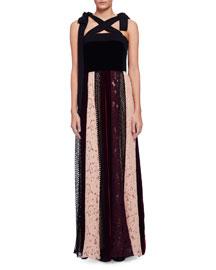 Sleeveless Velvet Combo Gown w/Paneled Lace Skirt, Black/Multi