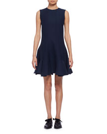 Sleeveless Fit-&-Flare Dress, Bleu Marine