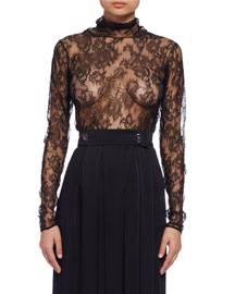 Long-Sleeve Sheer Lace Turtleneck Top, Black