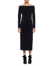 Long-Sleeve Off-the-Shoulder Midi Dress, Black (Noir)