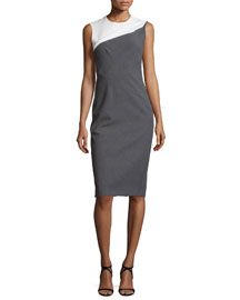 Sleeveless Bicolor Sheath Dress, Black/White