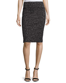 Printed Jacquard Pencil Skirt, Black