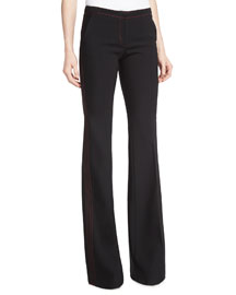 Topstitched Boot-Cut Pants, Black