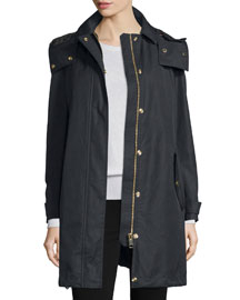 Harlington Zip-Front Hooded Parka, Black